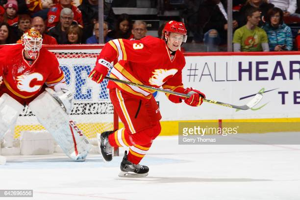 Jyrki Jokipakka of the Calgary Flames skates against the Arizona Coyotes during an NHL game on December 31 2016 at the Scotiabank Saddledome in...
