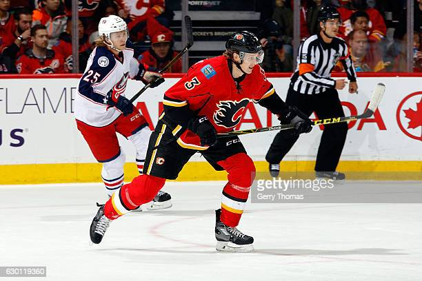 Jyrki Jokipakka of the Calgary Flames skates against the Columbus Blue Jackets during an NHL game on December 16 2016 at the Scotiabank Saddledome in...
