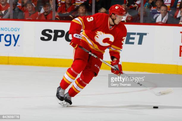 Jyrki Jokipakka of the Calgary Flames skates against the Edmonton Oilers during an NHL game on October 14 2016 at the Scotiabank Saddledome in...