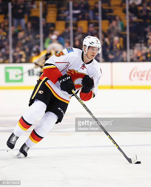 Jyrki Jokipakka of the Calgary Flames warms up before the game against the Boston Bruins at TD Garden on March 1 2016 in Boston Massachusetts