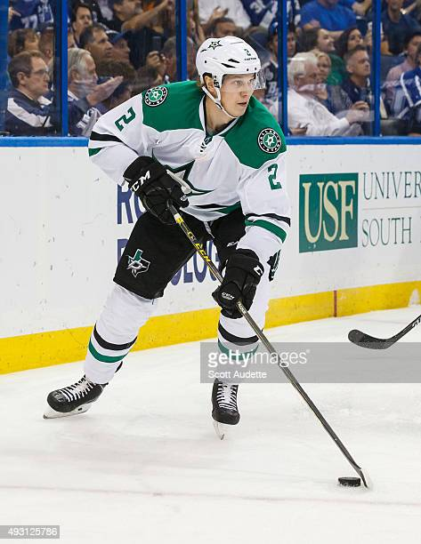 Jyrki Jokipakka of the Dallas Stars against the Tampa Bay Lightning during the second period at the Amalie Arena on October 15 2015 in Tampa Florida
