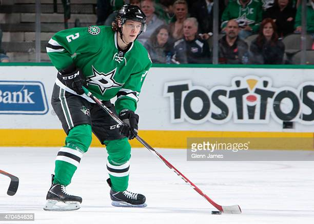 Jyrki Jokipakka of the Dallas Stars handles the puck against the Nashville Predators at the American Airlines Center on April 11 2015 in Dallas Texas