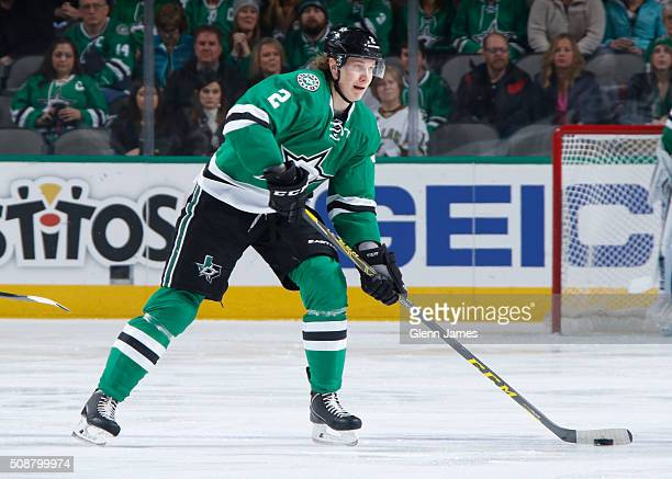 Jyrki Jokipakka of the Dallas Stars handles the puck against the Colorado Avalanche at the American Airlines Center on January 23 2016 in Dallas Texas