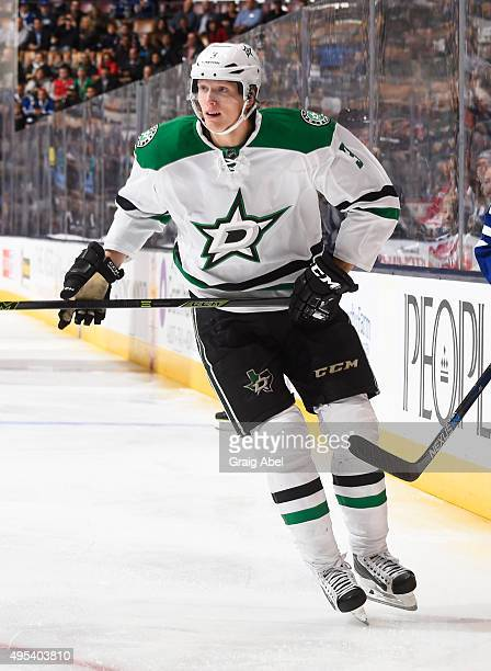 Jyrki Jokipakka of the Dallas Stars skates during NHL game action against the Toronto Maple Leafs November 2 2015 at Air Canada Centre in Toronto...