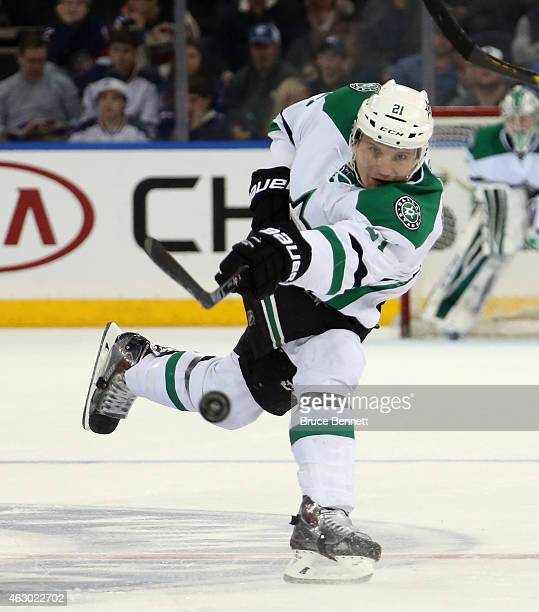 Jyrki Jokipakka of the Dallas Stars takes a slapshot against the New York Rangers at Madison Square Garden on February 8 2015 in New York City The...
