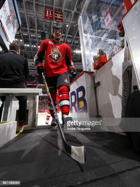 Jyrki Jokipakka of the Ottawa Senators leaves the ice after warmup prior to a game against the New York Rangers at Canadian Tire Centre on April 8...