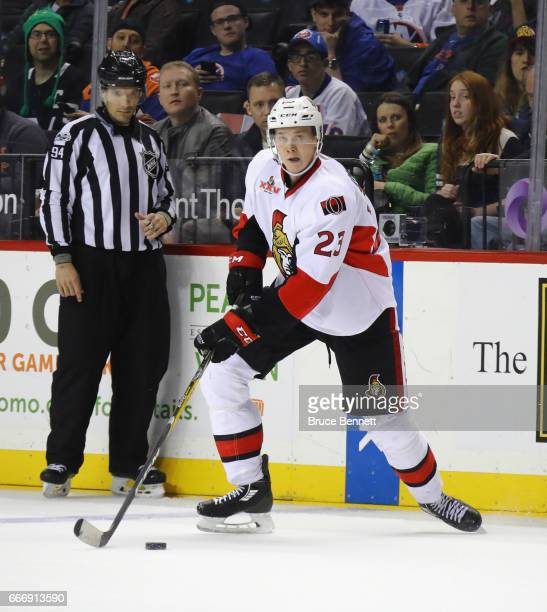 Jyrki Jokipakka of the Ottawa Senators skates against the New York Islanders at the Barclays Center on April 9 2017 in the Brooklyn borough of New...