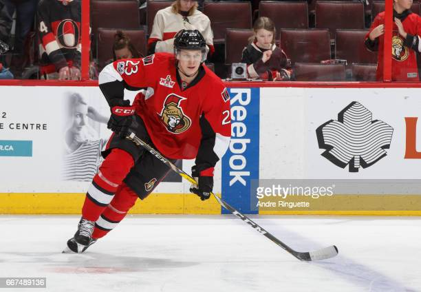 Jyrki Jokipakka of the Ottawa Senators skates during warmup prior to a game against the New York Rangers at Canadian Tire Centre on April 8 2017 in...