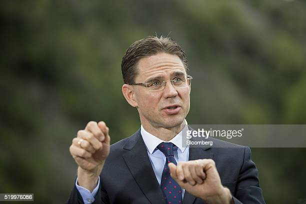 Jyrki Katainen European Commission vice president speaks to members of the media at the Ambrosetti Forum in Cernobbio Italy on Saturday April 9 2016...
