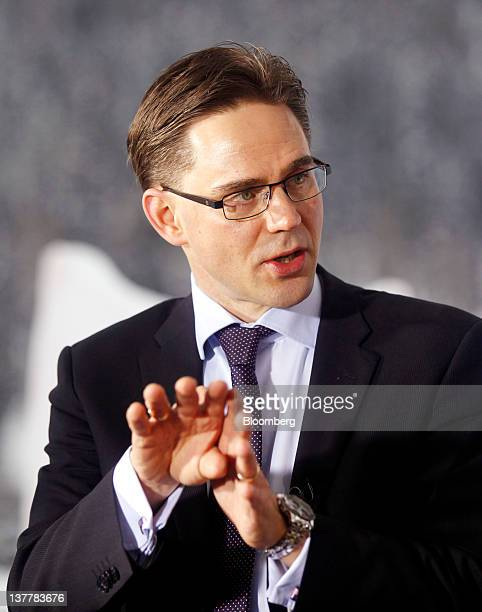 Jyrki Katainen Finland's prime minister gestures during a television interview on day three of the World Economic Forum in Davos Switzerland on...