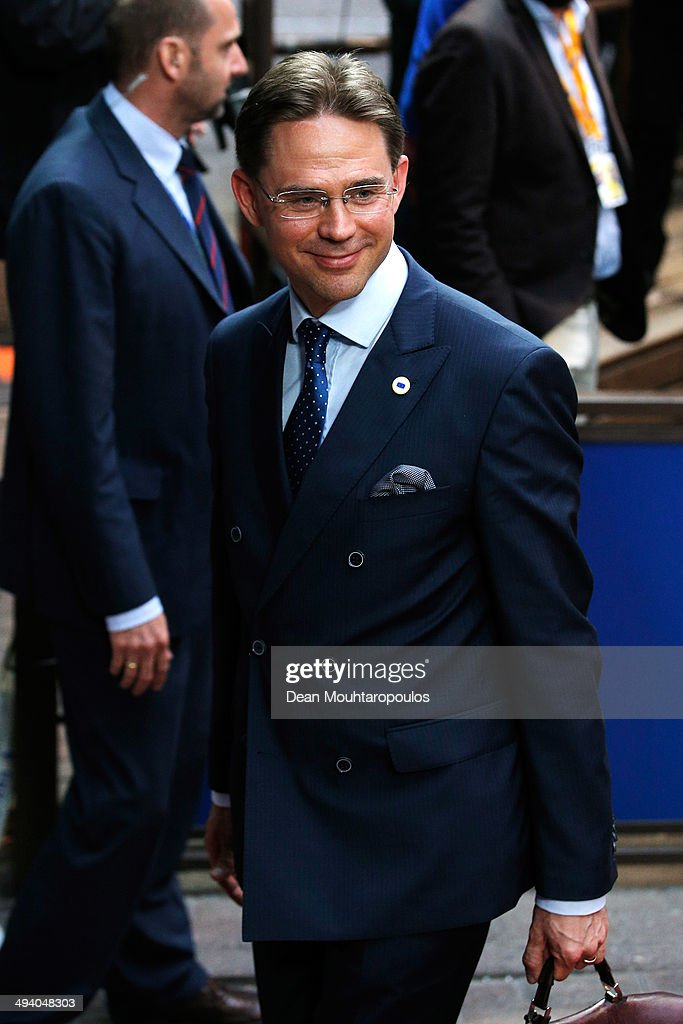 <a gi-track='captionPersonalityLinkClicked' href=/galleries/search?phrase=Jyrki+Katainen&family=editorial&specificpeople=3014648 ng-click='$event.stopPropagation()'>Jyrki Katainen</a>, Prime Minister of Finland, arrives for the Informal Dinner of Heads of State or Government held at the Justus Lipsius Building on May 27, 2014 in Brussels, Belgium. Voting in the European elections resulted in significant gains for Eurosceptic parties in several countries across the continent in what has been described as a political 'earthquake'.