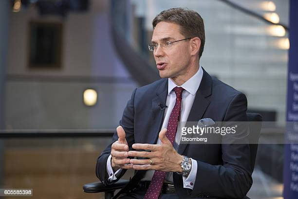 Jyrki Katainen vice president of the European Commission gestures whilst speaking during a Bloomberg Television interview at the European Parliament...
