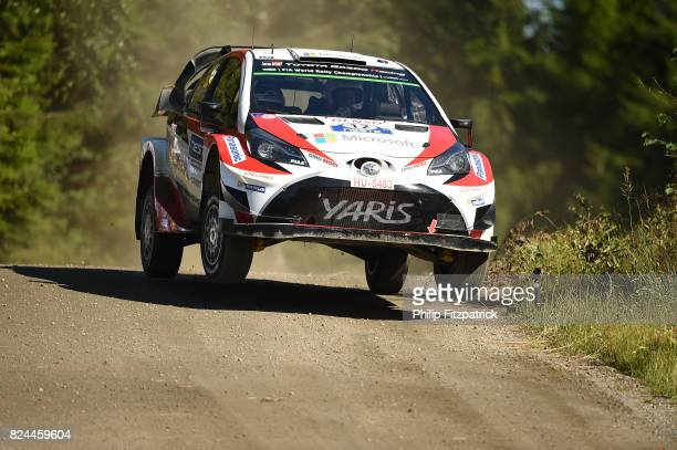 Jyvaskyla Finland 30 July 2017 Esapekka Lappi of Finland and Janne Ferm of Finland compete in their Toyota Yaris WRC during Special Stage 23 of the...