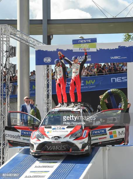 Jyvaskyla Finland 30 July 2017 Esapekka Lappi of Finland and Janne Ferm of Finland celebrate after winning Rally Finland in their Toyota Yaris WRC...