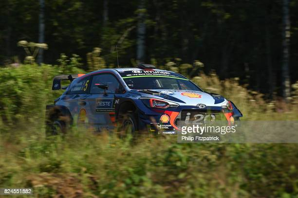 Jyvaskyla Finland 30 July 2017 Thierry Neuville of Belgium and Nicolas Gilsoul of Belgium compete in their Hyundai Motorsport i20 Coupe WRC during...