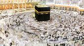 Muslims pilgrims from all around the world circumabulate (tawaf) the Kaaba at Masjidil Haram, Mecca, Saudi Arabia.