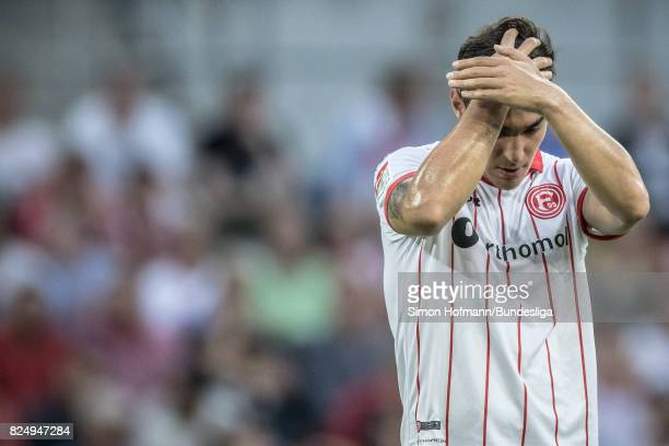 Kaan Ayhan of Duesseldorf is disappointed during the the Second Bundesliga match between Fortuna Duesseldorf and Eintracht Braunschweig at...