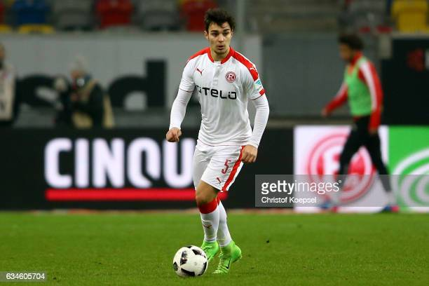 Kaan Ayhan of Duesseldorf runs with the ball during the Second Bundesliga match between Fortuna Duesseldorf and 1 FC Kaiserslautern at EspritArena on...