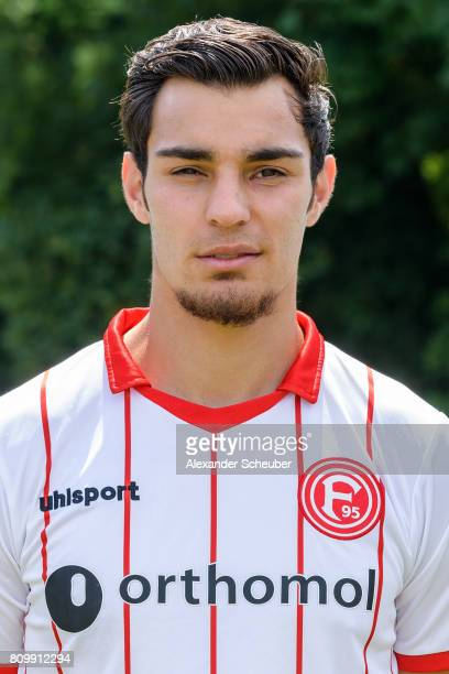 Kaan Ayhan of Fortuna Duesseldorf poses during the team presentation at on July 6 2017 in Duesseldorf Germany