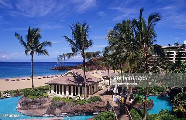 Ka`anapali beach, beautiful vacation scenery at a Maui resort