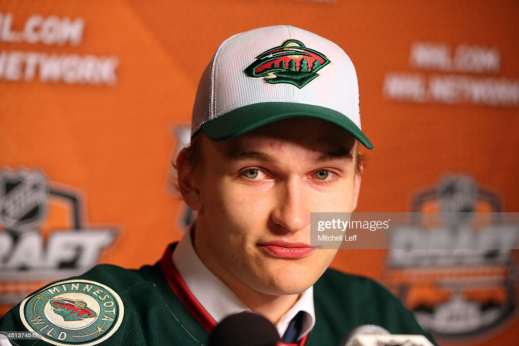 Kaapo Kahkonen speaks to the media after being drafted #109 by the Minnesota Wild on Day Two of the 2014 NHL Draft at the Wells Fargo Center on June 28, 2014 in Philadelphia, Pennsylvania.