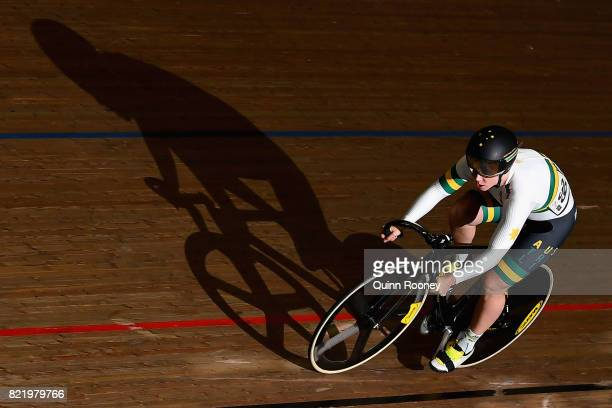 Kaarle McCulloch of Australia competes in the Elite Women's Sprint during the International Track Cycling Grand Prix Series at Darebin International...