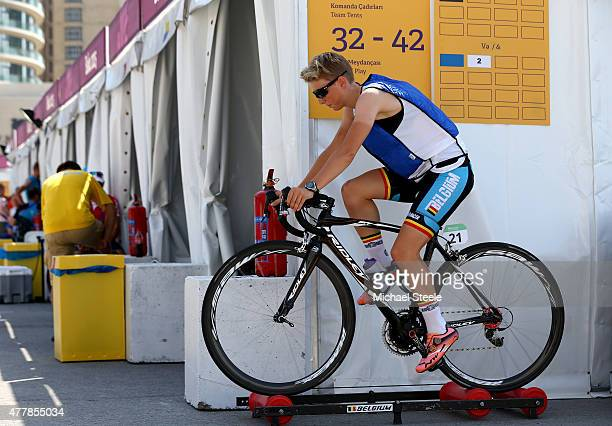 Kaat Hannes of Belgium warms up prior to the Women's Road Race on day eight of the Baku 2015 European Games at Freedom Square on June 20 2015 in Baku...