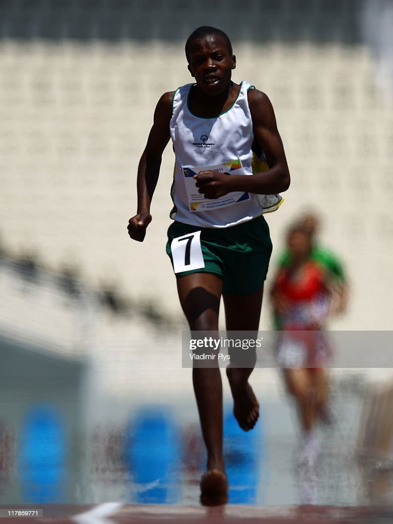 Kabalo Mkhabela of South Africa runs barfoot during the 800m run during the Athens 2011 Special Olympics World Summer Games on July 1, 2011 in Athens, Greece.