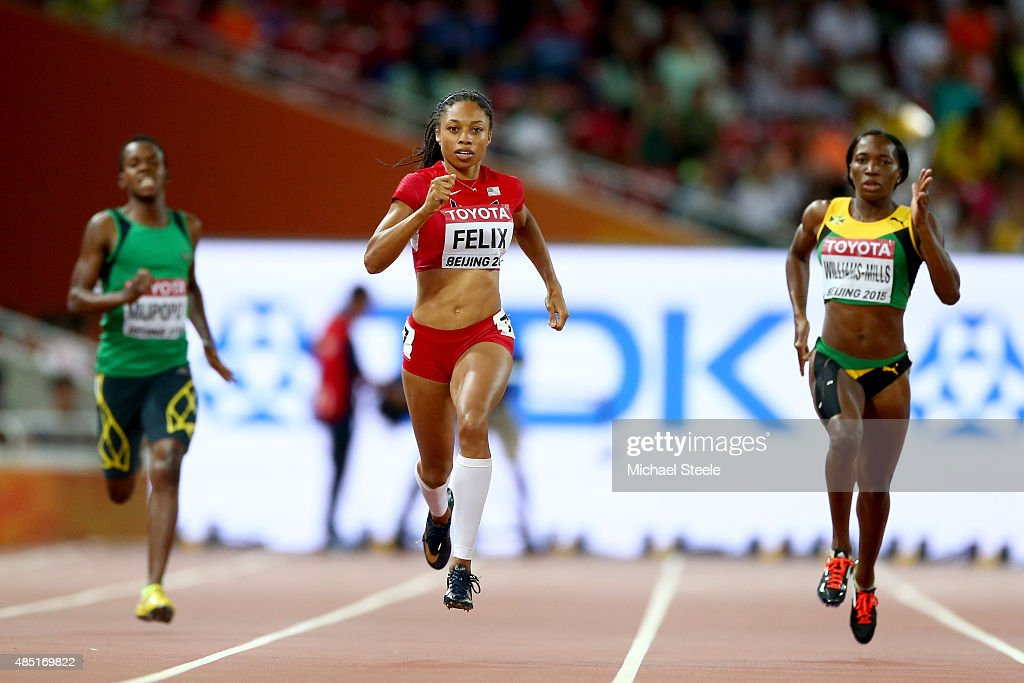 Kabange Mupopo of Zambia, <a gi-track='captionPersonalityLinkClicked' href=/galleries/search?phrase=Allyson+Felix&family=editorial&specificpeople=213459 ng-click='$event.stopPropagation()'>Allyson Felix</a> of the United States and <a gi-track='captionPersonalityLinkClicked' href=/galleries/search?phrase=Novlene+Williams-Mills&family=editorial&specificpeople=5981844 ng-click='$event.stopPropagation()'>Novlene Williams-Mills</a> of Jamaica compete in the Women's 400 metres Semi Final during day four of the 15th IAAF World Athletics Championships Beijing 2015 at Beijing National Stadium on August 25, 2015 in Beijing, China.