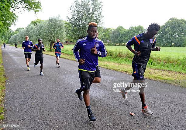 Kabasele Nathan forward of Rsc Anderlecht and Idrissa Sylla of Rsc Anderlecht pictured during the morning run of RSC Anderlecht at the Bilderberg...
