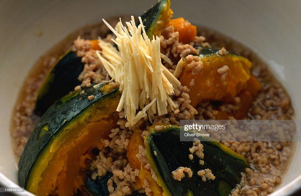 Kabocha no tori sobaroan (pumpkin with thick chicken mince sauce)