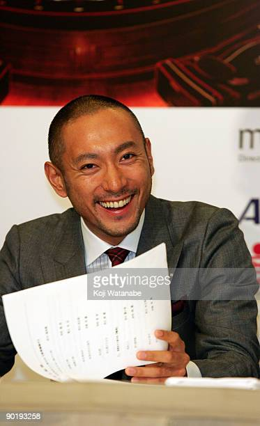 Kabuki Actor Ebizo Ichikawa attends the 'Kabuki In Monaco' press conference at Tokyo Kaikan on August 31 2009 in Tokyo Japan The performance will be...