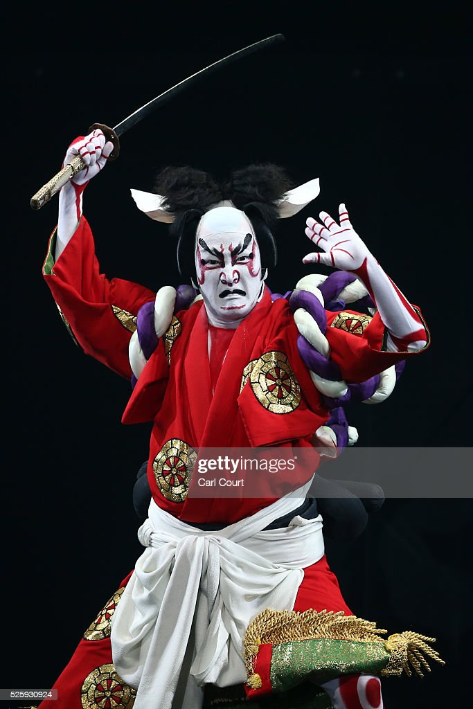 Kabuki actor Shido Nakamura performs in the kabuki theatre show 'Hanakurabe Senbonzakura' on April 29, 2016 in Tokyo, Japan. The latest digital technology kabuki theatre piece 'Hanakurabe Senbonzakura' is part of the Niconico Chokaigi festival in Tokyo. The festival was organized by video website Niconico, combining Kabuki, a traditional Japanese theater art and cutting edge animation technology, co-starring kabuki superstar <a gi-track='captionPersonalityLinkClicked' href=/galleries/search?phrase=Shidou+Nakamura&family=editorial&specificpeople=772833 ng-click='$event.stopPropagation()'>Shidou Nakamura</a> and the popular virtual idol Hatsune Miku.