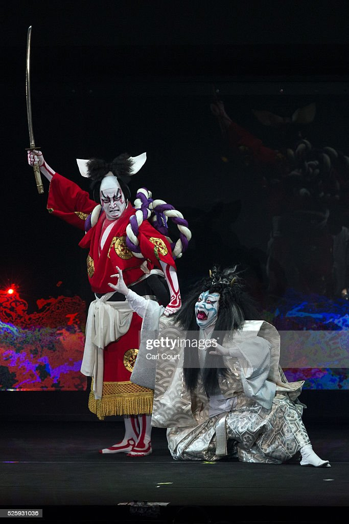 Kabuki actor Shido Nakamura (L) performs with Kuniya Sawamura in the kabuki theatre show 'Hanakurabe Senbonzakura' on April 29, 2016 in Tokyo, Japan. The latest digital technology kabuki theatre piece 'Hanakurabe Senbonzakura' is part of the Niconico Chokaigi festival in Tokyo. The festival was organized by video website Niconico, combining Kabuki, a traditional Japanese theater art and cutting edge animation technology, co-starring kabuki superstar <a gi-track='captionPersonalityLinkClicked' href=/galleries/search?phrase=Shidou+Nakamura&family=editorial&specificpeople=772833 ng-click='$event.stopPropagation()'>Shidou Nakamura</a> and the popular virtual idol Hatsune Miku.