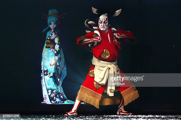 Kabuki actor Shido Nakamura performs with virtual idol Hatsune Miku in a final dress rehearsal for the kabuki theatre show 'Hanakurabe Senbonzakura'...