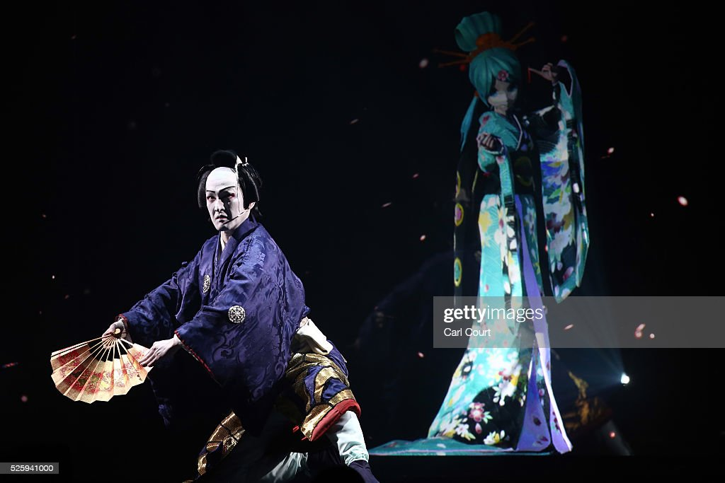 Kabuki actor Shido Nakamura (L) performs with virtual idol Hatsune Miku in the kabuki theatre show 'Hanakurabe Senbonzakura' on April 29, 2016 in Tokyo, Japan. The latest digital technology kabuki theatre piece 'Hanakurabe Senbonzakura' is part of the Niconico Chokaigi festival in Tokyo. The festival was organized by video website Niconico, combining Kabuki, a traditional Japanese theater art and cutting edge animation technology, co-starring kabuki superstar <a gi-track='captionPersonalityLinkClicked' href=/galleries/search?phrase=Shidou+Nakamura&family=editorial&specificpeople=772833 ng-click='$event.stopPropagation()'>Shidou Nakamura</a> and the popular virtual idol Hatsune Miku.