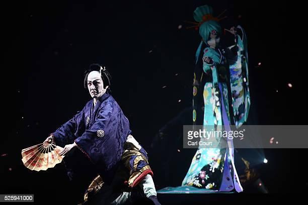 Kabuki actor Shido Nakamura performs with virtual idol Hatsune Miku in the kabuki theatre show 'Hanakurabe Senbonzakura' on April 29 2016 in Tokyo...
