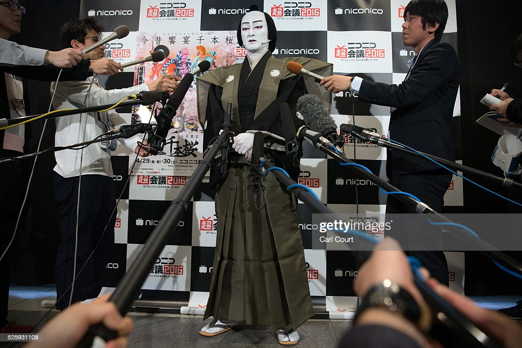 Kabuki actor Shido Nakamura speaks to the media after performing in the kabuki theatre show 'Hanakurabe Senbonzakura' on April 29, 2016 in Tokyo, Japan. The latest digital technology kabuki theatre piece 'Hanakurabe Senbonzakura' is part of the Niconico Chokaigi festival in Tokyo. The festival was organized by video website Niconico, combining Kabuki, a traditional Japanese theater art and cutting edge animation technology, co-starring kabuki superstar <a gi-track='captionPersonalityLinkClicked' href=/galleries/search?phrase=Shidou+Nakamura&family=editorial&specificpeople=772833 ng-click='$event.stopPropagation()'>Shidou Nakamura</a> and the popular virtual idol Hatsune Miku.