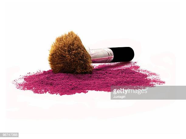 kabuki brush in burgundy mineral make-up Isolated