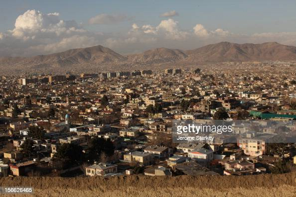Kabul cityscape on an unusually clear day as seen looking north from the mudwalled fort in Taimani Days of rain cleared the dust and smog which...