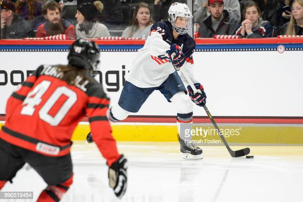 Kacey Bellamy of the United States passes the puck away from Blayre Turnbull of Canada during the game on December 3 2017 at Xcel Energy Center in St...