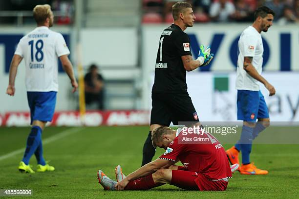 Kacper Przybylko of Kaiserslautern reacts after missing a chance to score during the Second Bundesliga match between 1 FC Heidenheim and 1 FC...