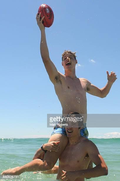 Kade Jake Kolodjashnij pose after a press conference ahead of the AFL Draft at Kurrawa Beach on November 19 2013 on the Gold Coast Australia