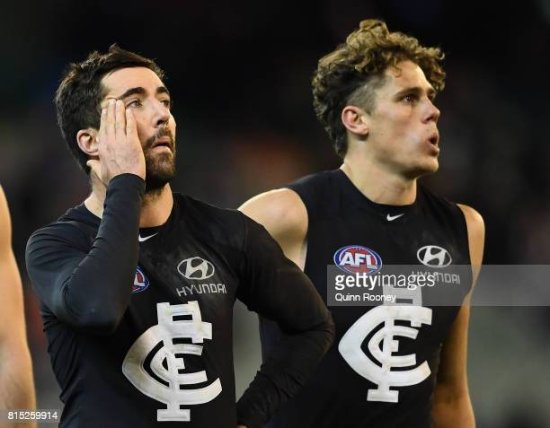 Kade Simpson and Charlie Curnow of the Blues looks dejected after losing the round 17 AFL match between the Carlton Blues and the Western Bulldogs at...