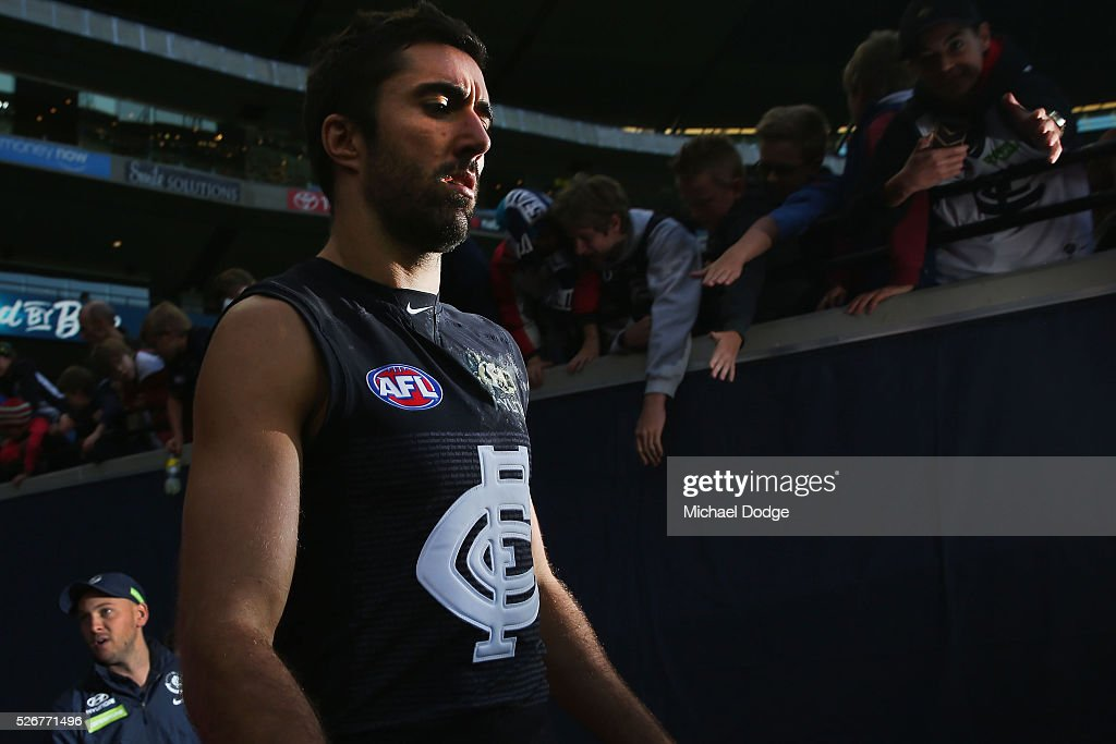 Kade Simpson of the Blues walks out after half time during the round six AFL match between the Carlton Blues and the Essendon Bombers at Melbourne Cricket Ground on May 1, 2016 in Melbourne, Australia.