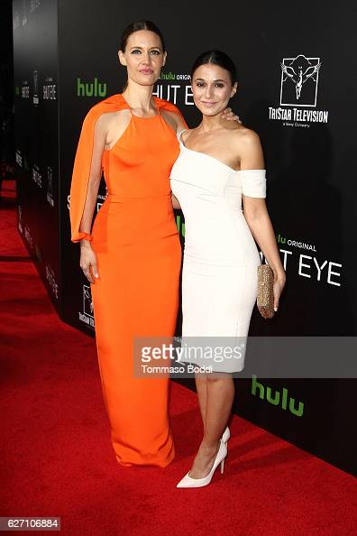 KaDee Strickland and Emmanuelle Chriqui attend the premiere of Hulu's 'Shut Eye' at ArcLight Hollywood on December 1 2016 in Hollywood California
