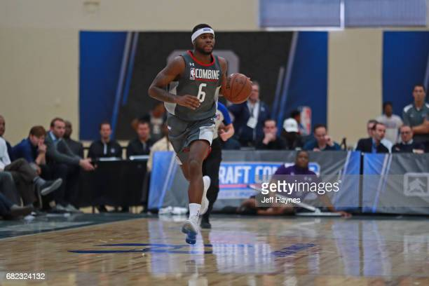 Kadeem Allen dribbles the ball up court during the NBA Draft Combine at the Quest Multisport Center on May 11 2017 in Chicago Illinois NOTE TO USER...