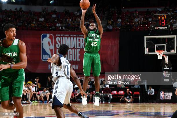 Kadeem Allen of the Boston Celtics shoots the ball during the game against the Dallas Mavericks during the Quarterfinals of the 2017 Las Vegas Summer...