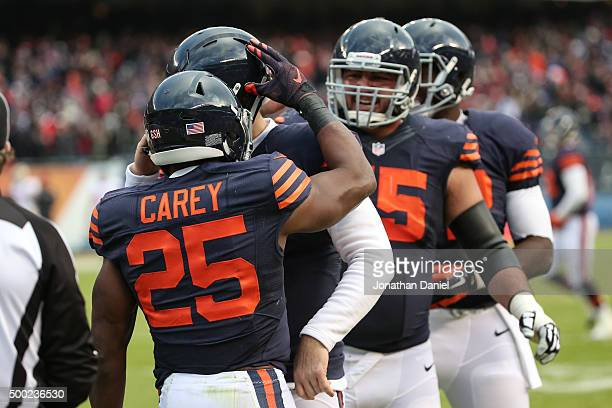 Ka'Deem Carey of the Chicago Bears celebrates after scoring a touchdown in the fourth quarter against the San Francisco 49ers at Soldier Field on...