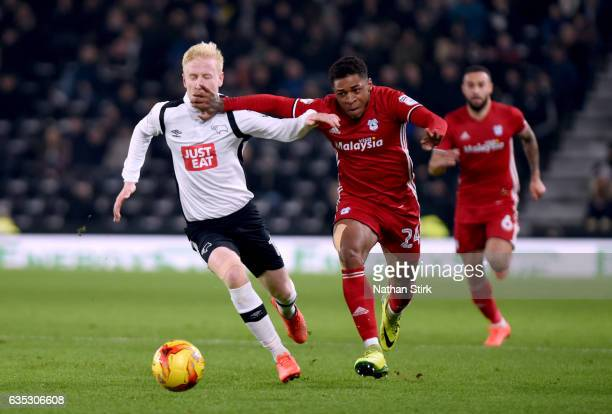 Kadeem Harris of Cardiff City and Will Hughes of Derby County in action during the Sky Bet Championship match between Derby County and Cardiff City...